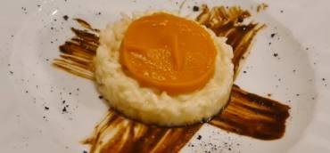 Risotto al Timorasso , crema di zucca e liquirizia